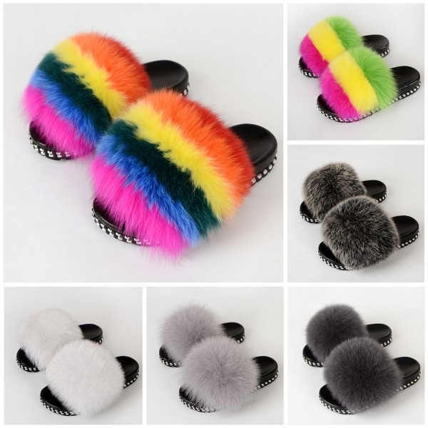 New Arrival Fur Slides Sandals Rivet Sole Womens Fur Slippers