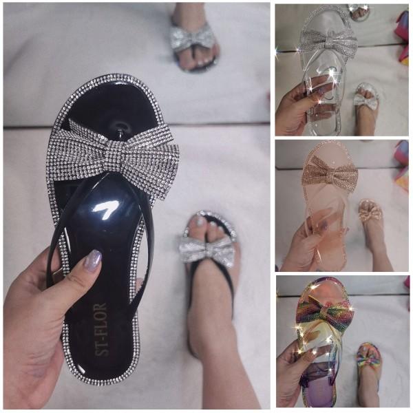 Shiny Rhinestone Bowtie Slide Sandals Clear Flip Flops
