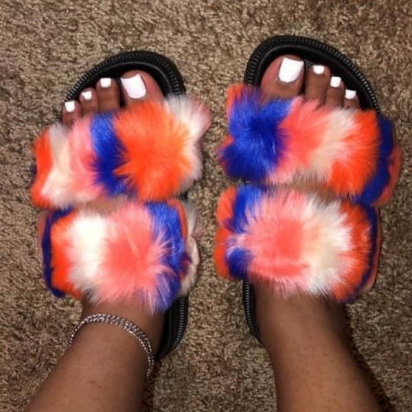 Double Strap Faux Fur Slides Colorful Fur Sandals