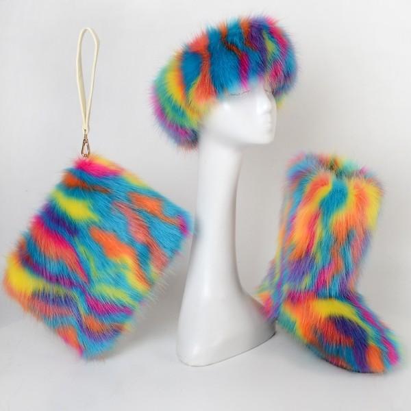 Rainbow Color Faux Fur Boots with Matching Fur Headband and Handbag Set