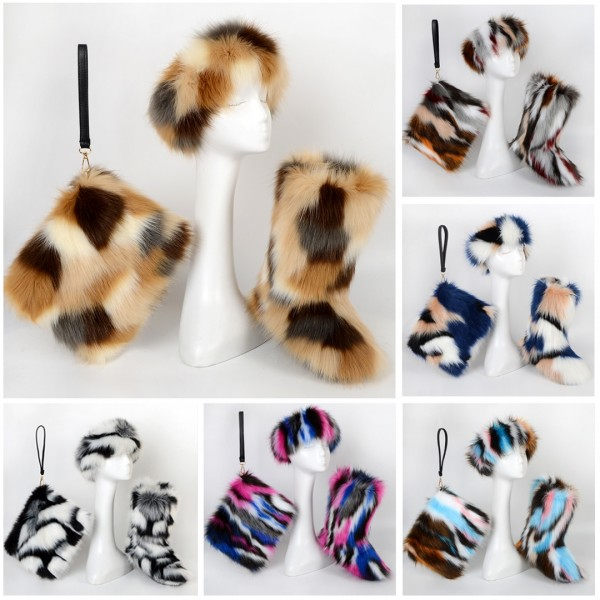 Fashion Women's Faux Fur Boots with Matching Fur Headband and Purse Set