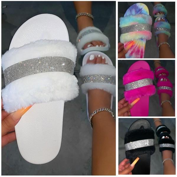 Women's Fuzzy Slide Sandals Rhinestones Open Toe Flat Slippers