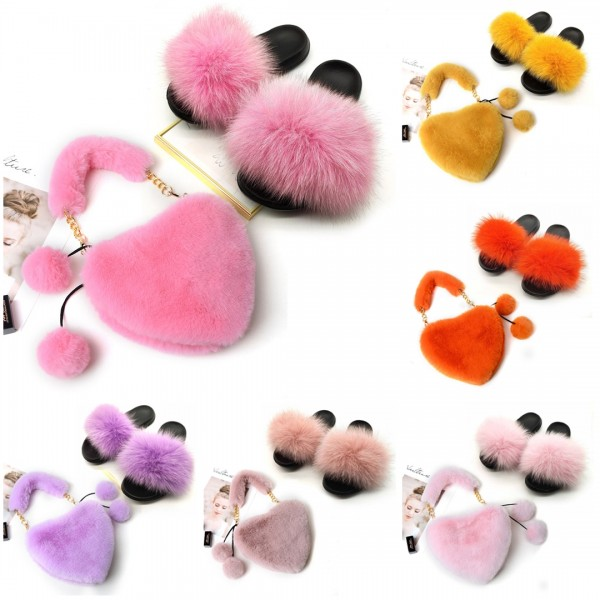 Cute Fur Slides with Matching Heart Shaped Fur Handbag Set