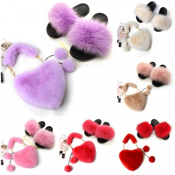Women's Furry Slides with Matching Heart Shaped Fuzzy Purse Set