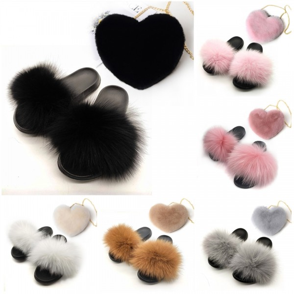 Cute Fur Slides with Matching Fuzzy Heart Shaped Shoulder Bag Set