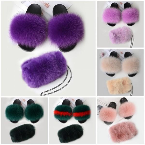 Chic Purple Fur Slides with Matching Fur Purse Set