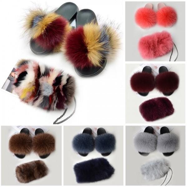 Fluffy Fur Slides with Matching Furry Shoulder Bag Set
