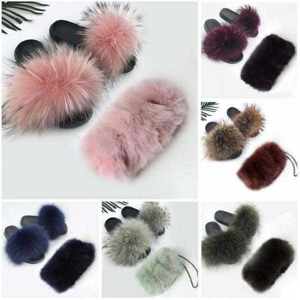 Women's Furry Slides with Matching Winter Fur Bag Set