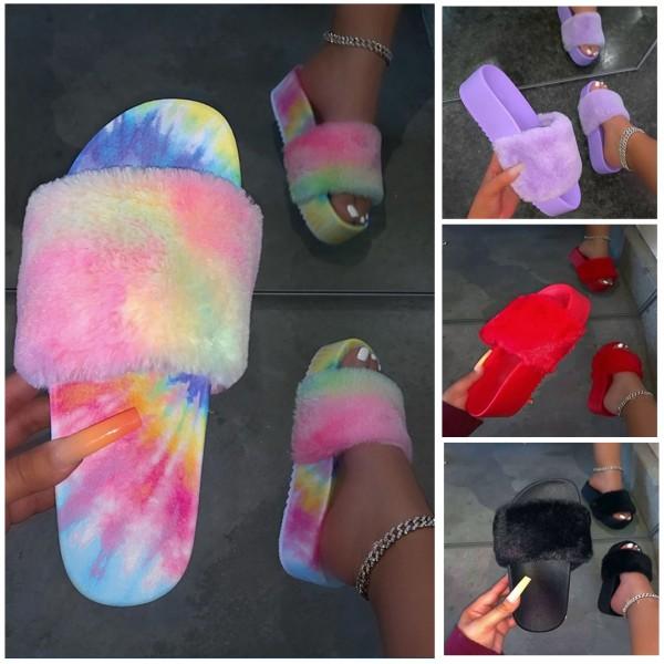 Tie Dye Fuzzy Platform Sandals Women's Flatform Slippers