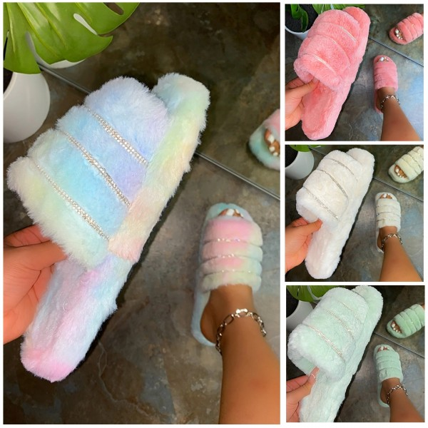 Fuzzy Slippers with Rhinestones Decorated Fluffy Slide Sandals