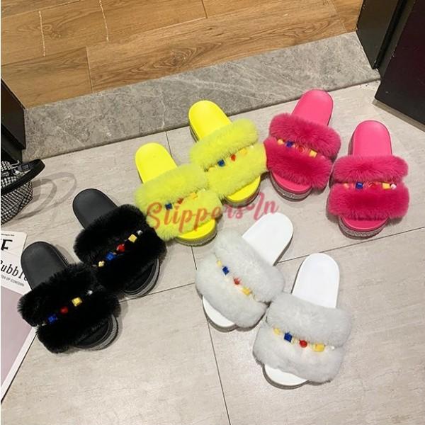 Fluffy Platform Slide Sandals Rhinestones Sole Fuzzy Flatform Sandals