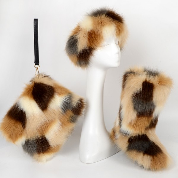 Brown Faux Fur Boots with Matching Fur Headband and Purse Set