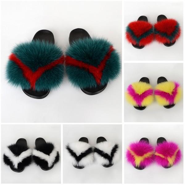 New Arrival Fur Slides Fluffy Big Furry Sandals