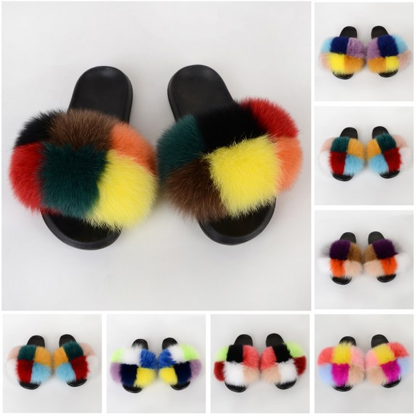 Colorblocked Fur Slides Fluffy Open Toe Furry Slippers
