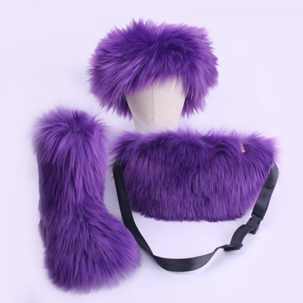 Purple Faux Fur Boots with Matching Fur Headband and Waist Bag Set