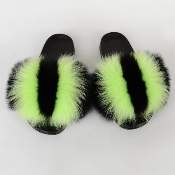 Colorful Striped Fur Slides Fluffy Furry Slide Sandals
