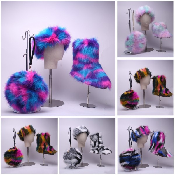 Mid-Calf Faux Fur Boots with Matching Fur Headband and Round Bag Set