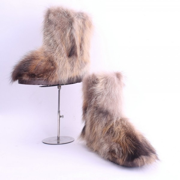 Brown Fluffy Faux Fur Boots Women's Winter Mid Calf Booties