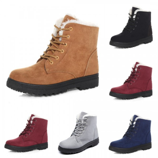 Essential Women's Ankle Boots Lace-Up Suede Warm Snow Boots