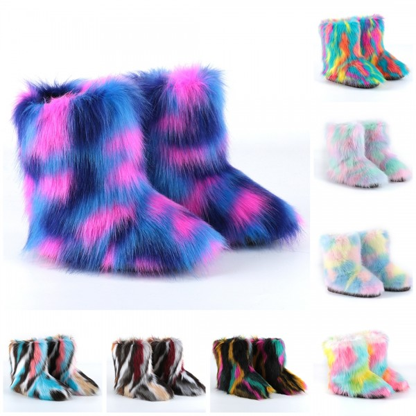 New Fluffy Faux Fur Boots Colorful Mid-Calf Winter Boots