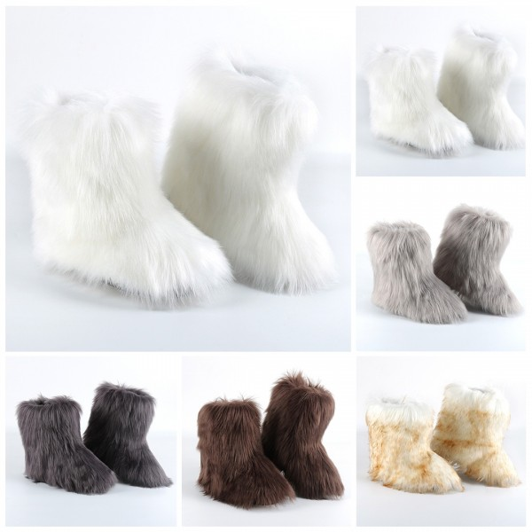 White Faux Fur Boots Fluffy Mid-Calf Winter Boots