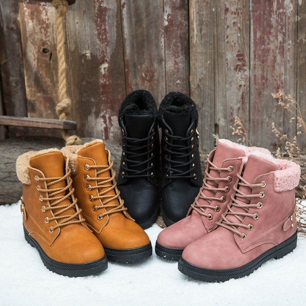 Women's Combat Boots with Rivet Decor Fur Lined Boots