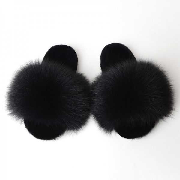 Brown Fluffy Fur Slides Warm Open Toe Furry Slippers