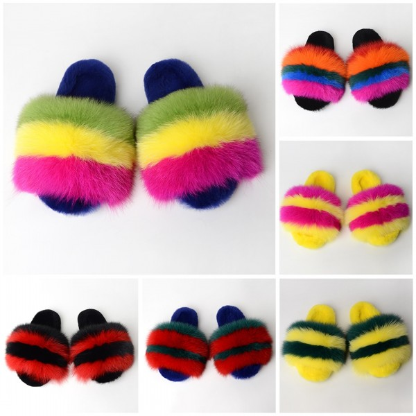 Colorful Big Fur Slides Women's Winter Furry Slippers