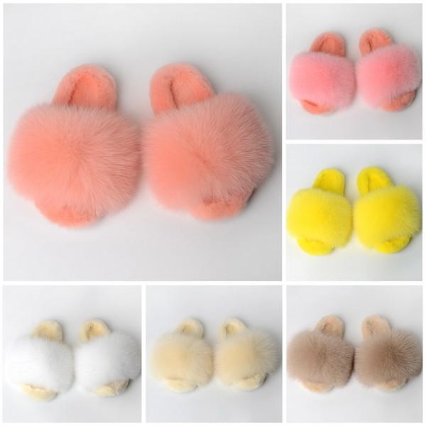 New Arrival Fluffy Fur Slides Warm Open Toe Fur Slippers