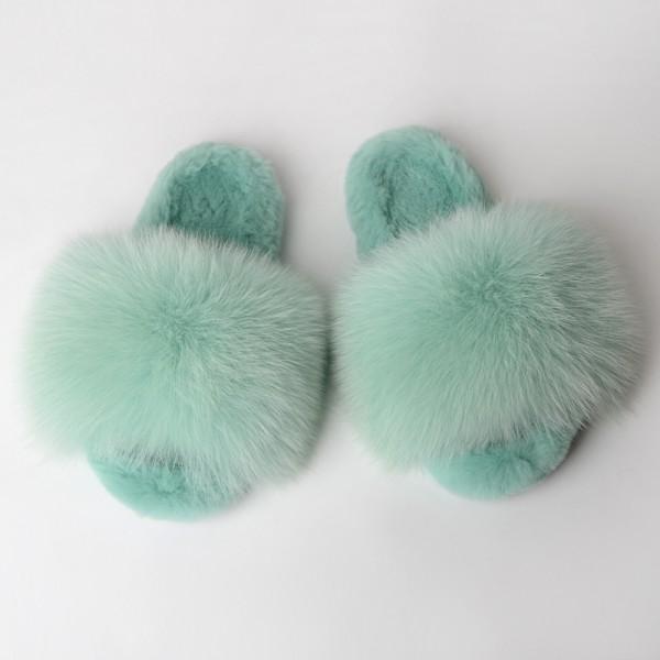 Mint Green Fur Slides Warm Open Toe Fuzzy Slippers