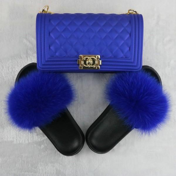 Royal Blue Fur Slides with Matching Jelly Crossbody Bag Set