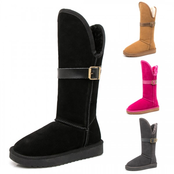 Women's Suede Winter Boots Mid-Calf Snow Boots with Buckles