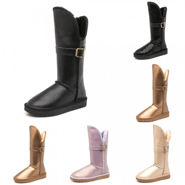 Glossy Leather Tall Boots Women's Winter Warm Mid-Calf Boots