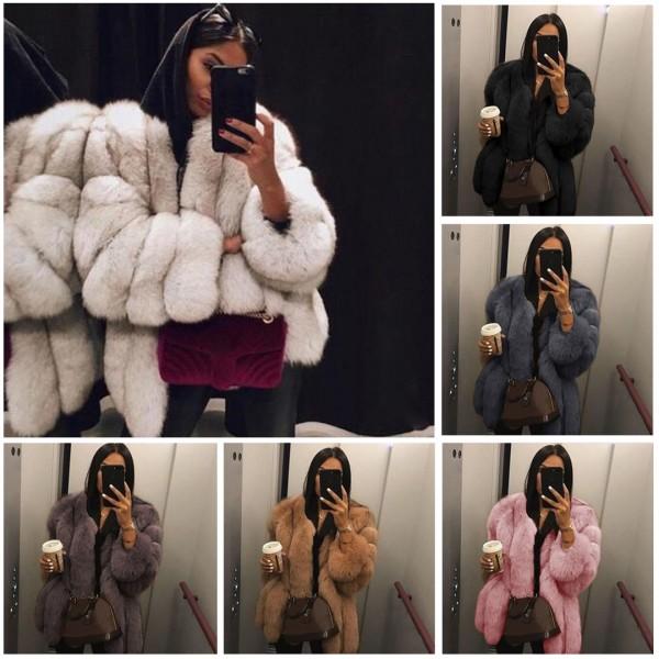 Luxury Faux Fur Coat Bubble Long Sleeves Warm Winter Outerwear