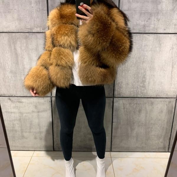 Fluffy Faux Fur Jacket Women's Brown Hooded Fur Coat