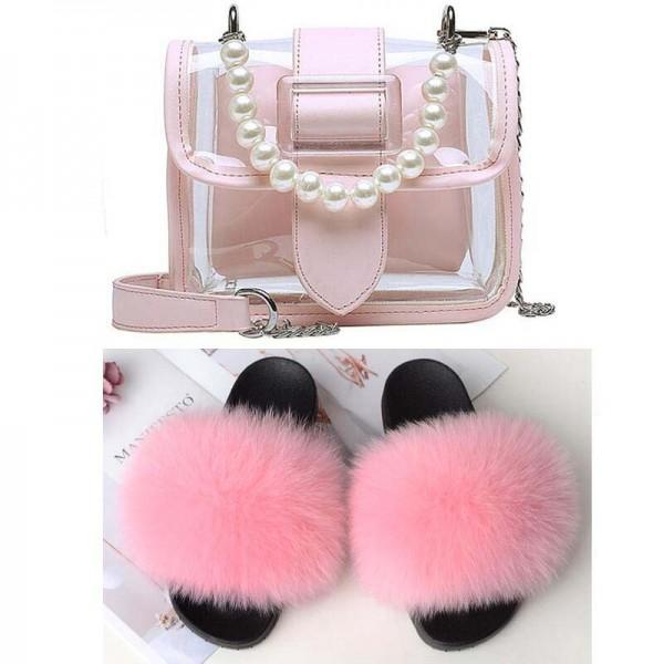 Cute Pink Fur Slides with Matching Transparent Pearls Shoulder Bag Set