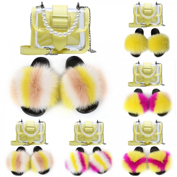 Yellow Fur Slides with Matching Clear Crossbody Bag