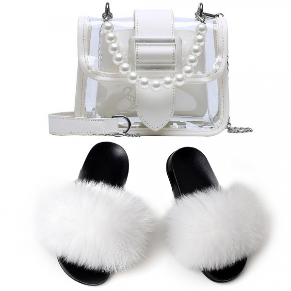 White Fur Slides with Matching Faux Pearls Chain Clear Bag
