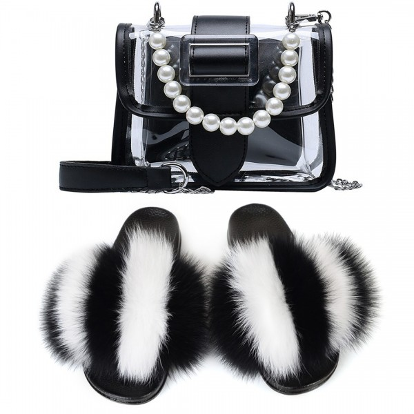 Black Fur Slides with Matching Clear Faux Pearls Handbag