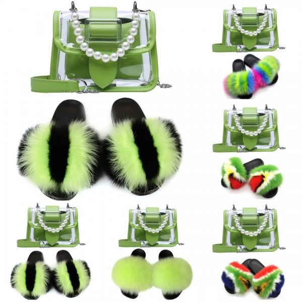 Lime Green Fur Slides with Matching Transparent Shoulder Bag Set