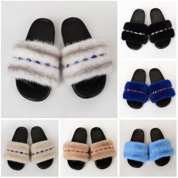Luxury Women's Mink Fur Slides with Rhinestone Embellishments
