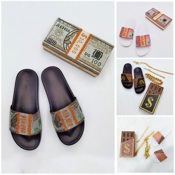 Luxury Dollar Design Women's Rhinestone Slides with Matching Clutch Bag Set