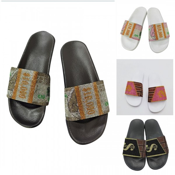 Sparkling Dollar Design Rhinestone Slide Sandals for Women