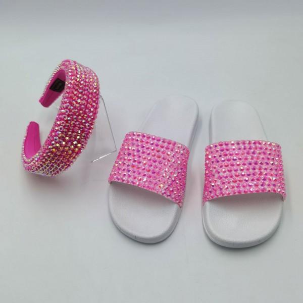 Women's Glittering Rhinestone Slide Sandals with Matching Headband