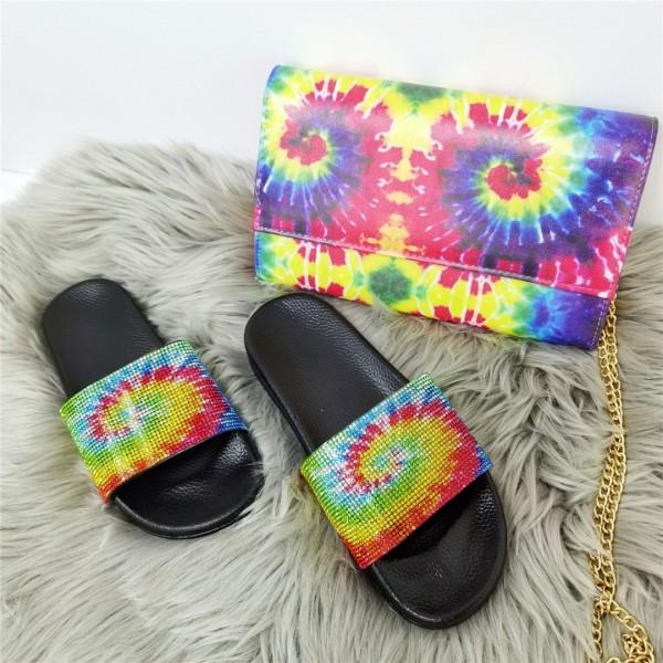 Tie Dye Sunflower Rhinestone Slide Sandals with Matching Shoulder Bag