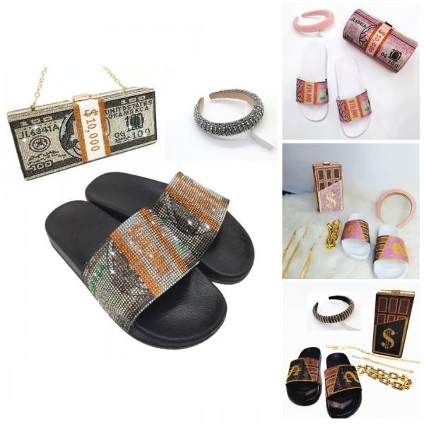 Fashion Dollar Bill Slide Sandals with Matching Clutch Bag and Headband Set