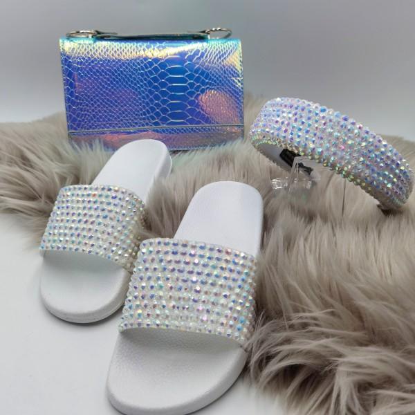 Sparkling Silver Rhinestone Slide Sandals Headband and Laser Holographic Tote Bag Set