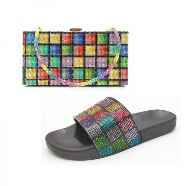 Colorful Rhinestone Slide Sandals with Matching Clutch Bag Set