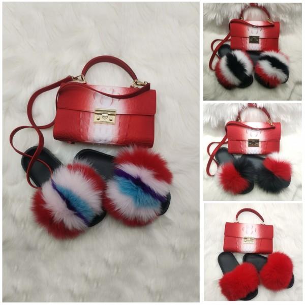 New Arrival Red Fur Slides and Alligator Print Handbag Set