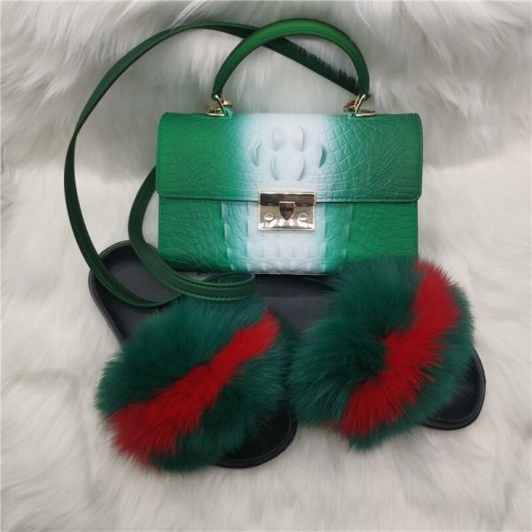 Dark Green Fur Slides with Matching Alligator Print Handbag Set